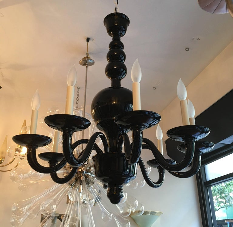 A rare and beautiful 1970s thick dark glass blown Murano six-arm chandelier. Newly rewired.