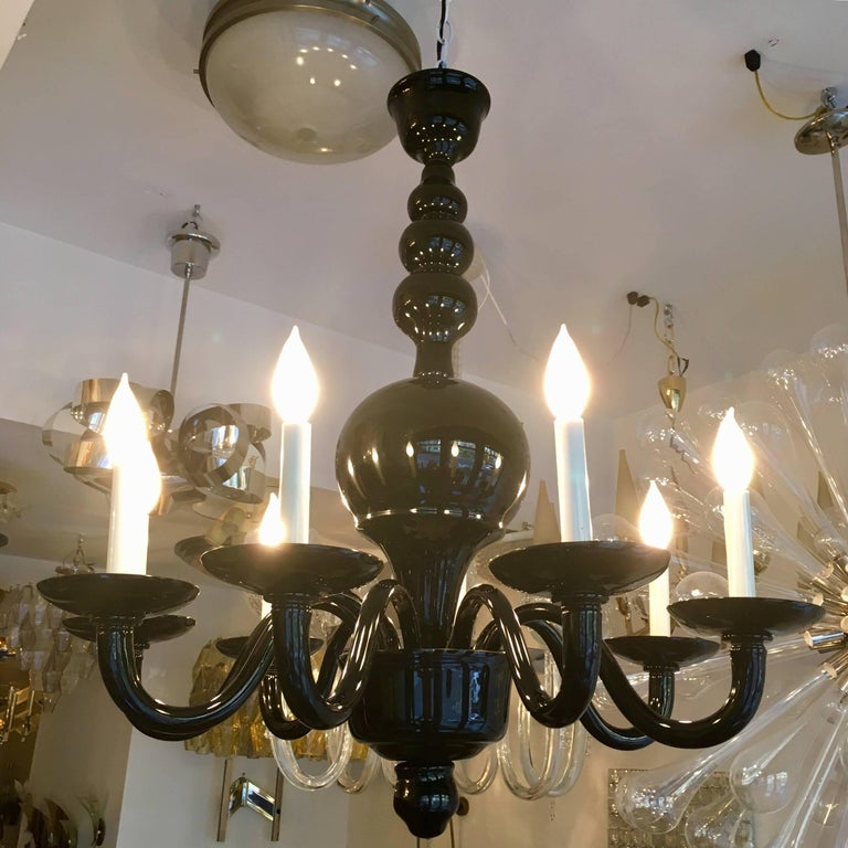 Blown Glass Venetian Murano 1970s Glass Italian Midcentury Chandelier For Sale