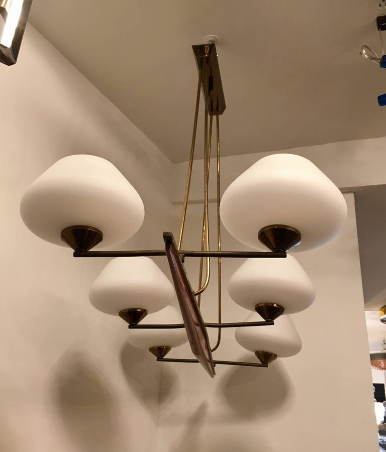 Mid-Century Modern French Arlus 1960s Viking Chandelier For Sale