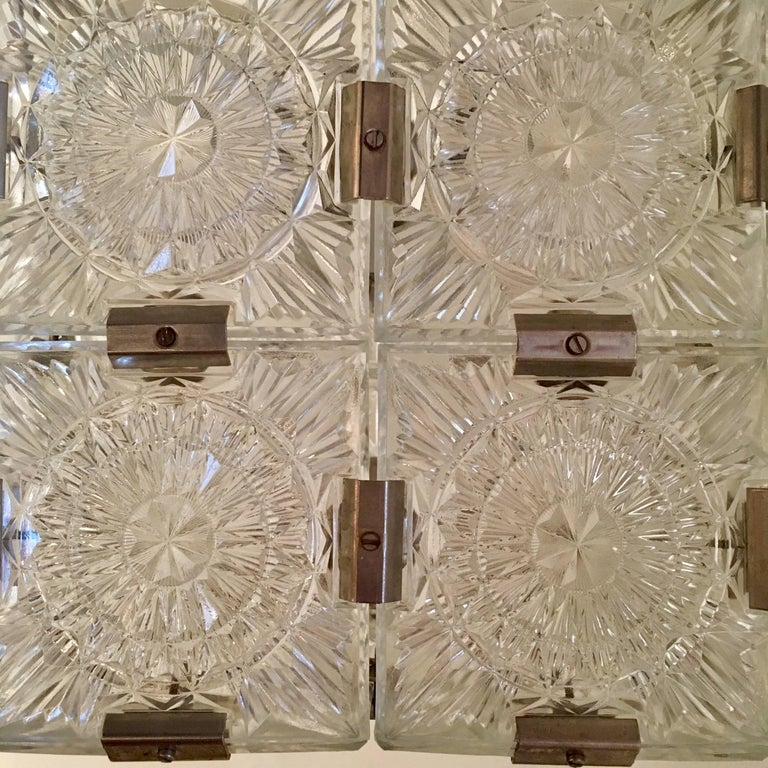 A wonderful modern cube crystal pendant made by the Czech firm, Kamenicky Senov. Great for an entry way or bathroom . Can be shortened. Rewired . A second available