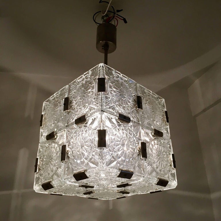 Czech Kamenicky Senov 1960s Crystal Pendant For Sale 1