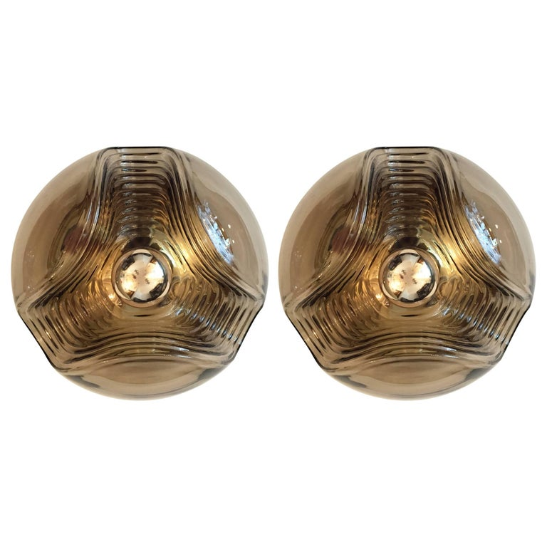 Pair of Large Smoked Glass Peill and Putzler Ceiling Wall Lights, 1960s