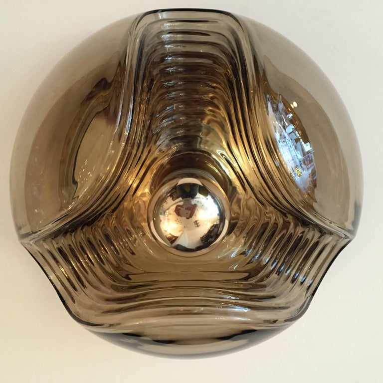 Pair of Large Smoked Glass Peill and Putzler Ceiling Wall Lights, 1960s 10