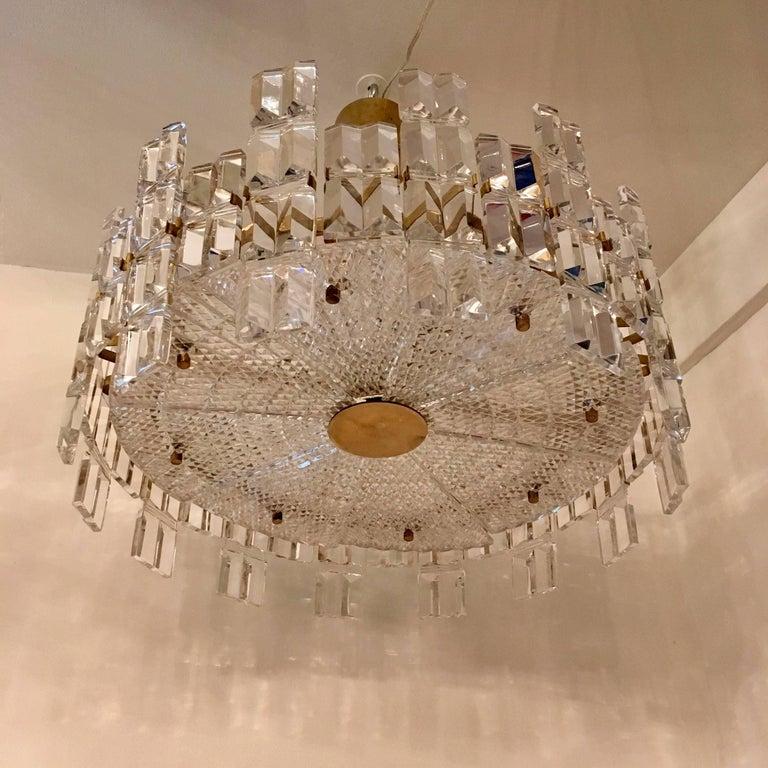 Mid-Century Modern Orrefors Crystal 1950s Swedish Midcentury Chandelier For Sale