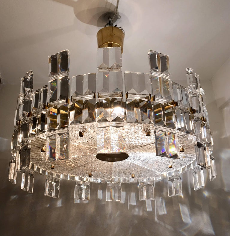 Mid-20th Century Orrefors Crystal 1950s Swedish Midcentury Chandelier For Sale