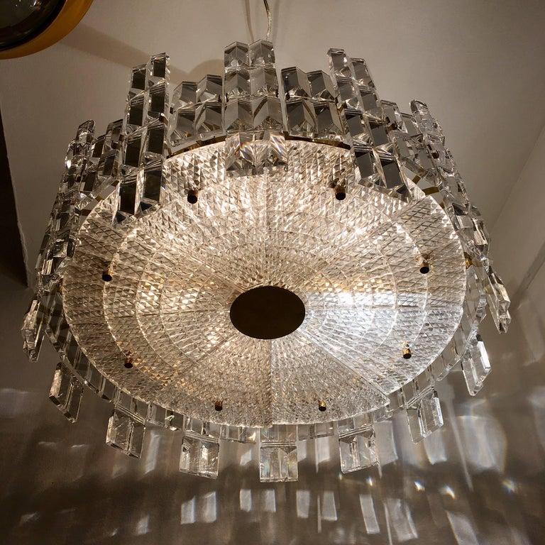 Brass Orrefors Crystal 1950s Swedish Midcentury Chandelier For Sale
