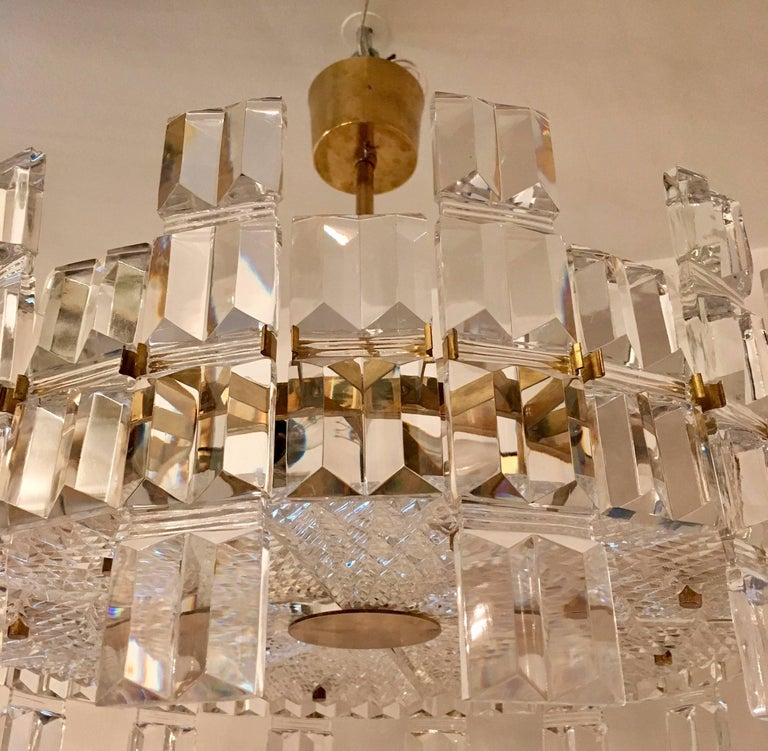 Orrefors Crystal 1950s Swedish Midcentury Chandelier For Sale 1