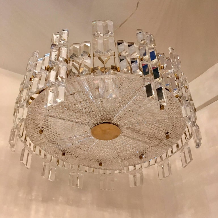 Orrefors Crystal 1950s Swedish Midcentury Chandelier For Sale 2