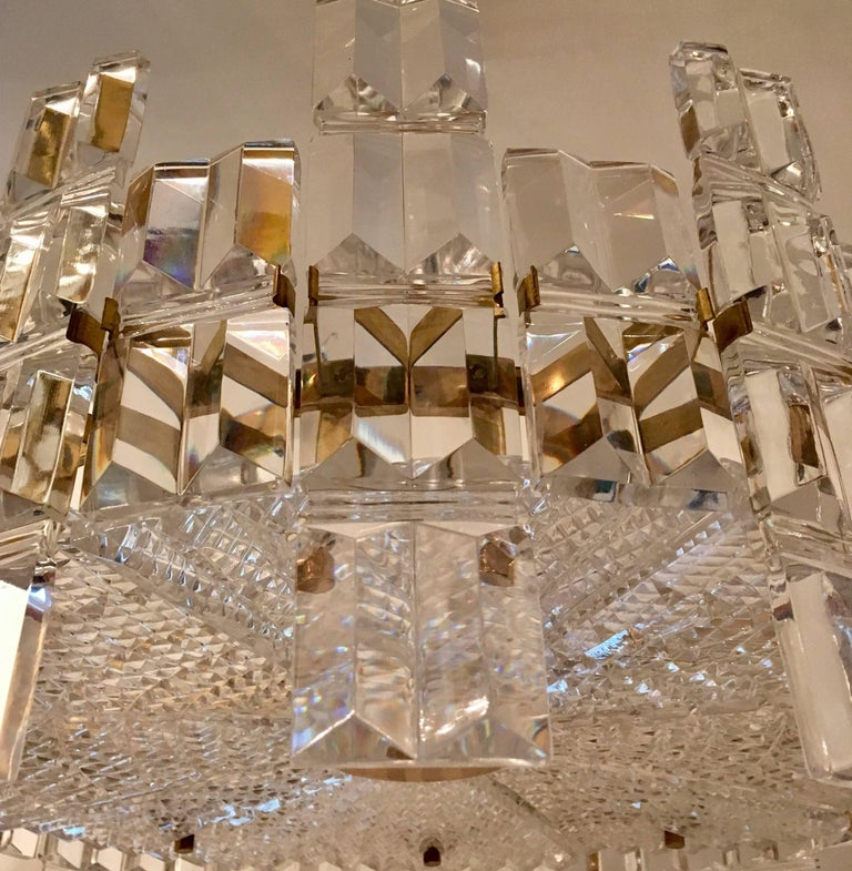 Orrefors Crystal 1950s Swedish Midcentury Chandelier For Sale 3
