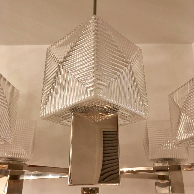 German 1930s Cubist Bauhaus Chandelier Pendant In Excellent Condition For Sale In New York, NY