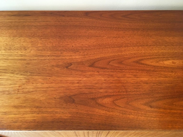 American Florence Knoll Grasscloth Walnut, 1950s Credenza Cabinet For Sale