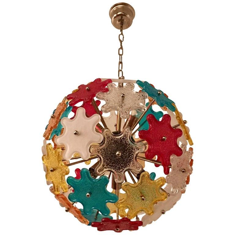 Murano Glass Colored Italian, 1960s Pendant Chandelier