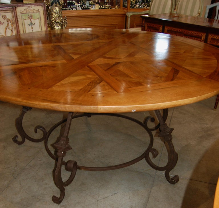 19th century walnut parquet flooring made into fabulous dining tables. The tables can be ordered in custom sizes and shapes including, circular, rectangle with two leaves and oval. My source has been making these tables for over 30 years and I have