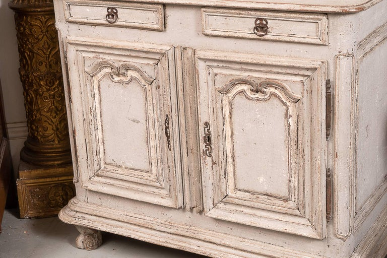 Carved 18th Century Painted Buffet Deux Corps For Sale