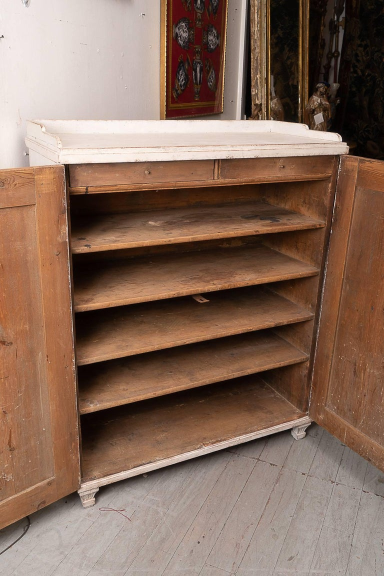 Carved 19th Century Painted Swedish Buffet For Sale