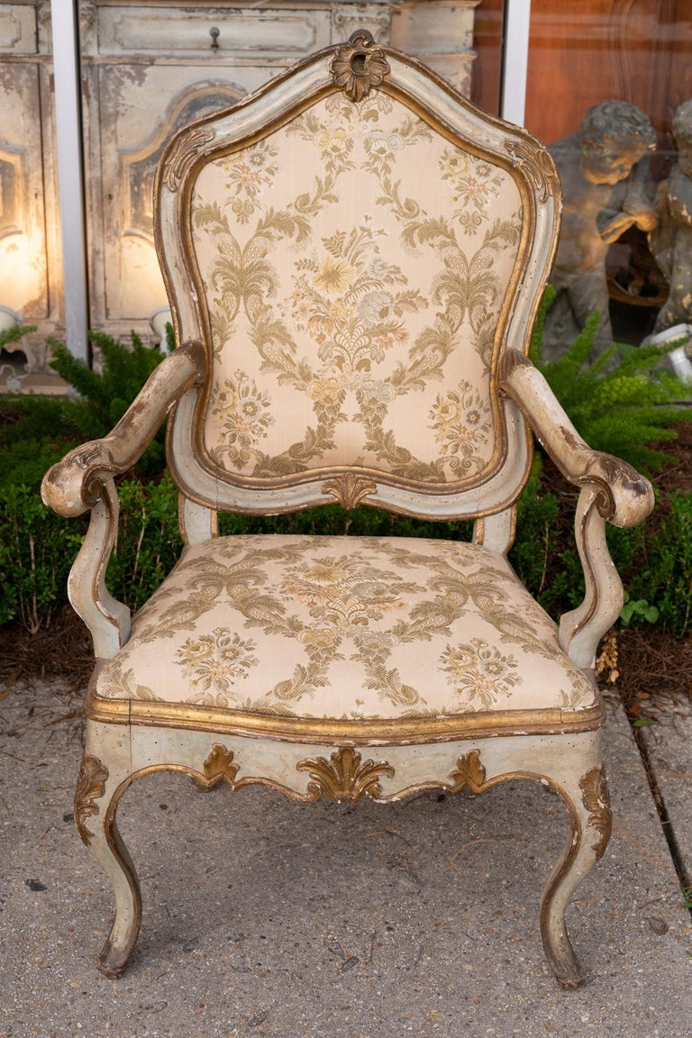 Italian Set of Six 19th Century Venetian Armchairs For Sale