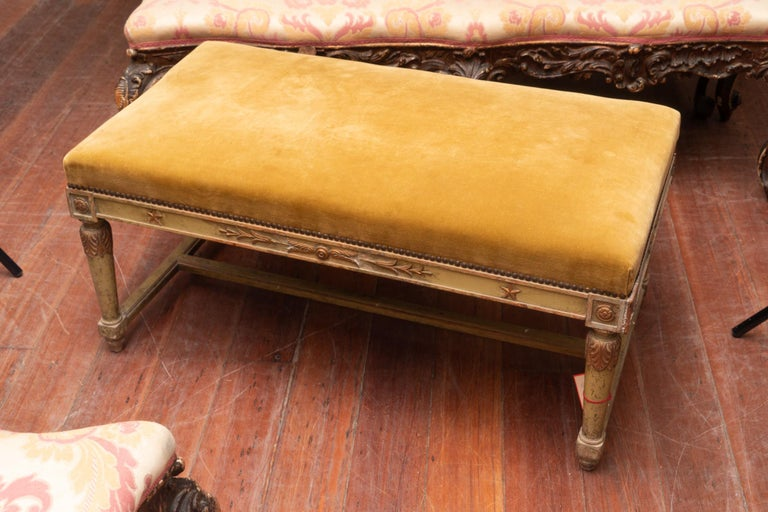Pair of Empire style gilded and painted benches.
