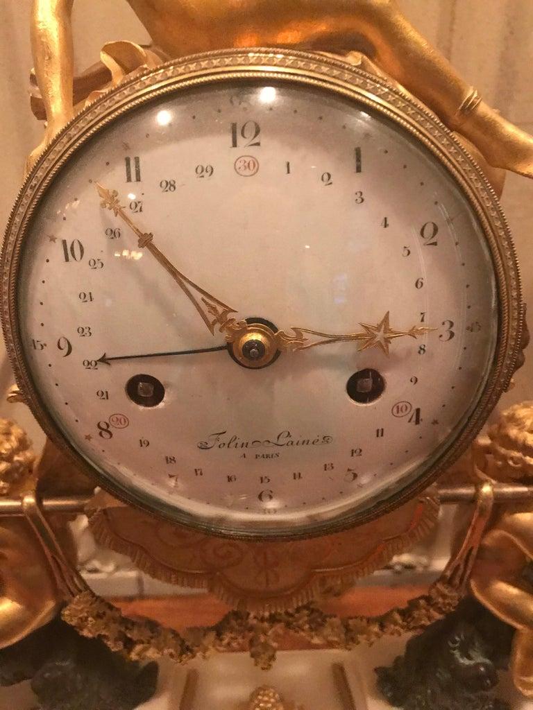 French 18th Century Bacchante Bronze Dore' Mantel Clock For Sale