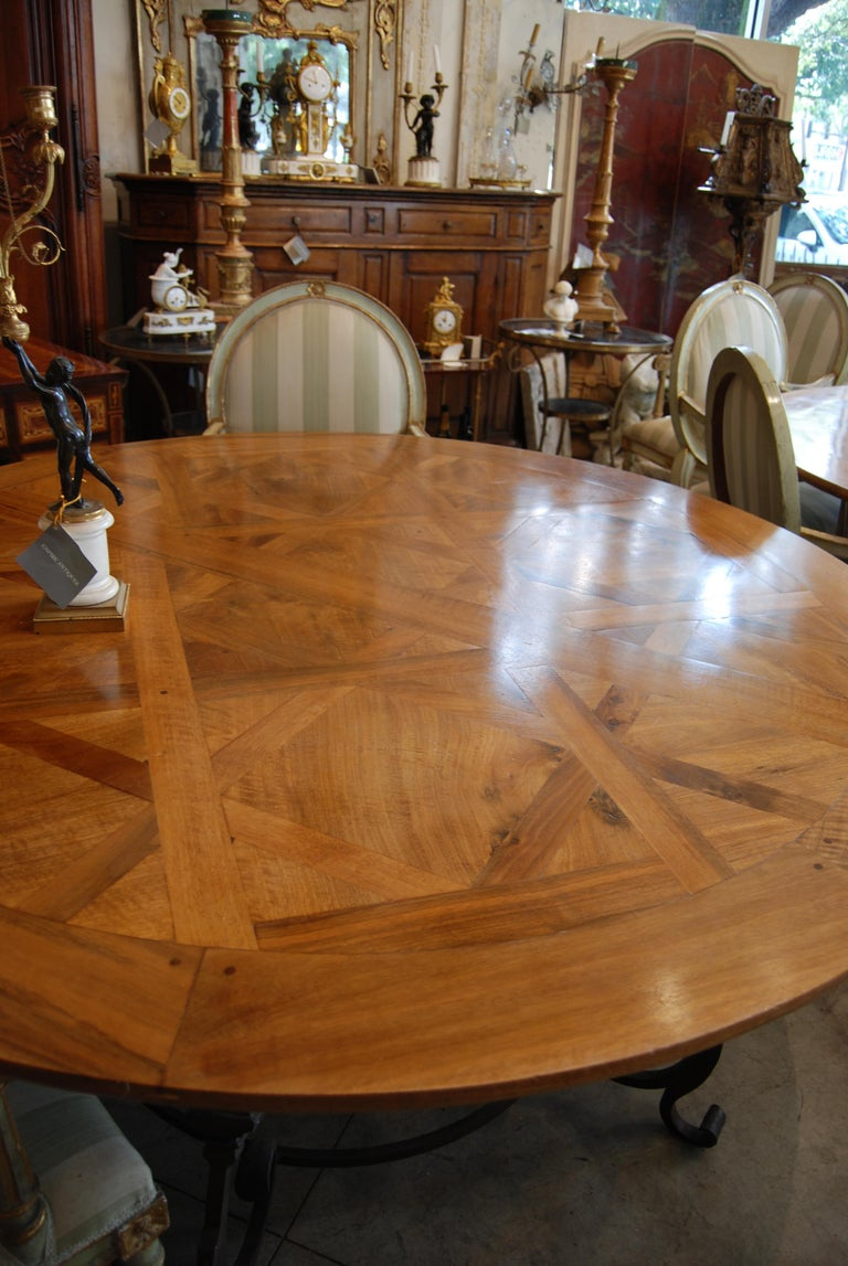 French Exceptional Antique Parquet de Versailles Handmade Dining Table For Sale