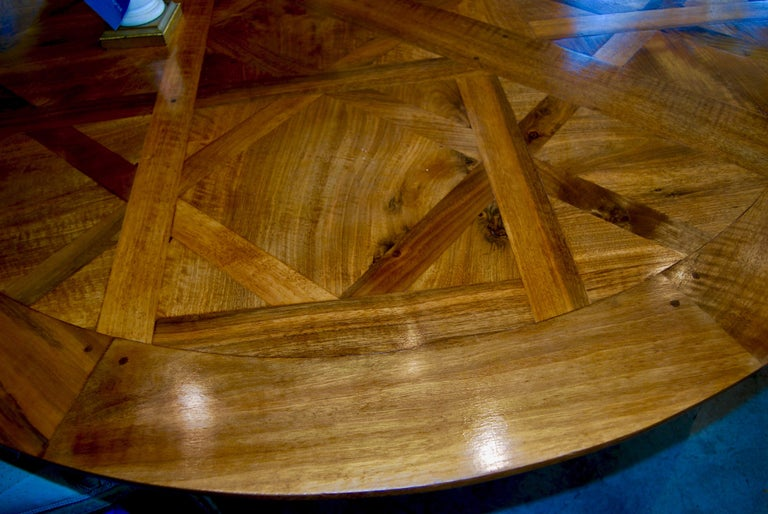 Hand-Crafted Exceptional Antique Parquet de Versailles Handmade Dining Table For Sale