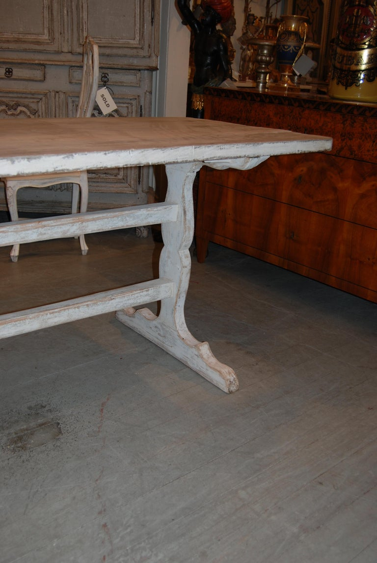 Belle Epoch Bleached and Painted Farm Table In Good Condition For Sale In New Orleans, LA