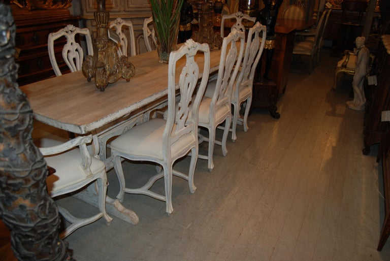 English Belle Epoch Bleached and Painted Farm Table For Sale