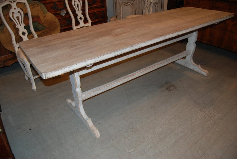 20th Century Belle Epoch Bleached and Painted Farm Table For Sale