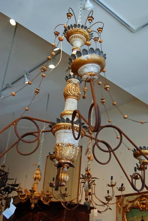 French Belle Epoch Wooden and Tole Italian Chandelier For Sale