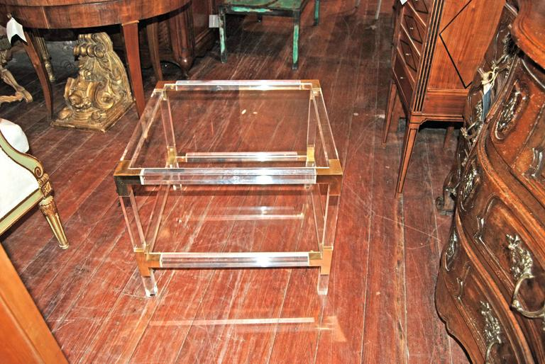 Mid-Century Modern Matched Pair of Lucite and Brass