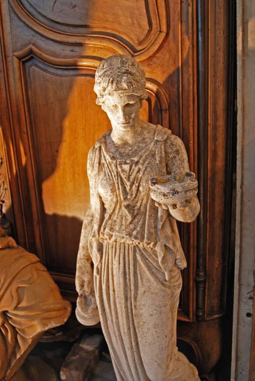 "19th Century Classical Limestone Statue ""the Hebe"" 2"