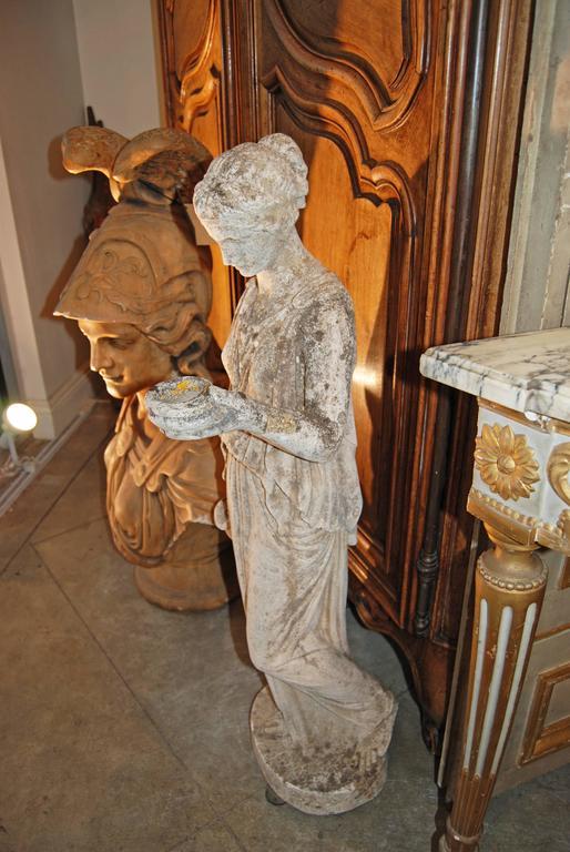 "19th Century Classical Limestone Statue ""the Hebe"" 3"