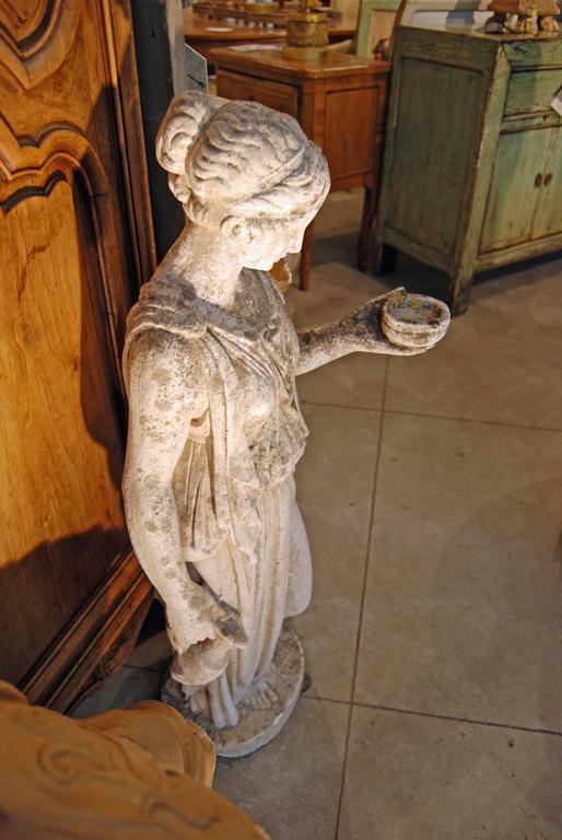 "19th Century Classical Limestone Statue ""the Hebe"" 4"