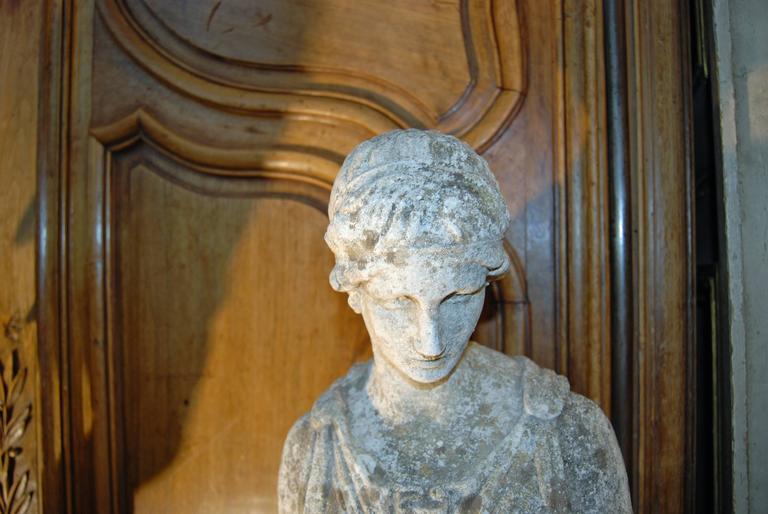 "19th Century Classical Limestone Statue ""the Hebe"" 5"