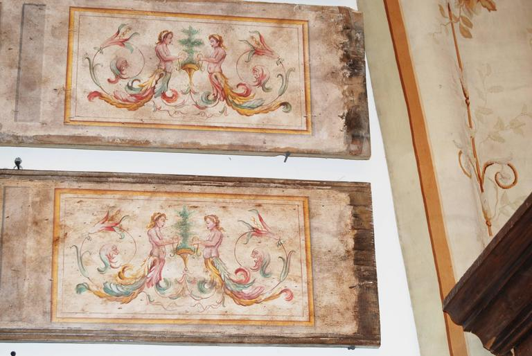 A set of 9 Venetian panels painted with neoclassical designs Provenance-ceiling of Venetian Residence  Measures: 6 panels 48; x 12 One panel 90.5; x 12.5