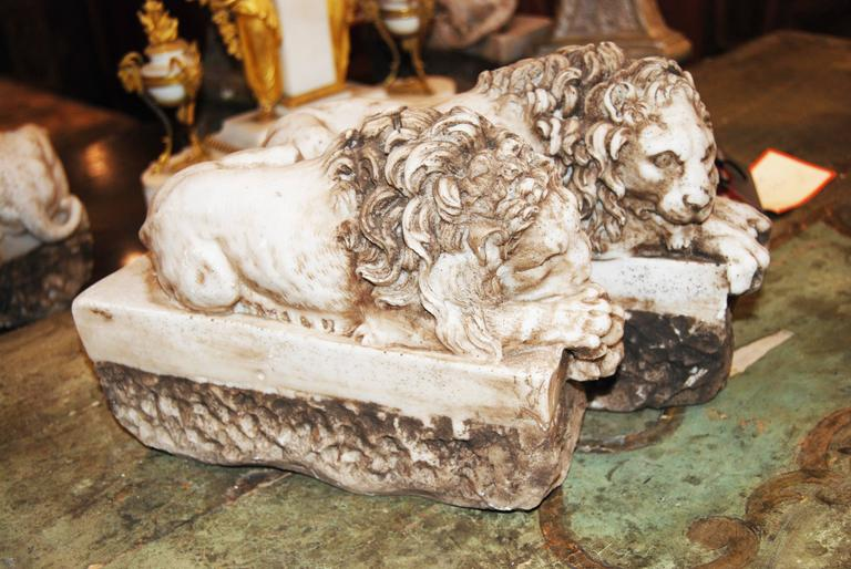 Pair of Marble Lions 2