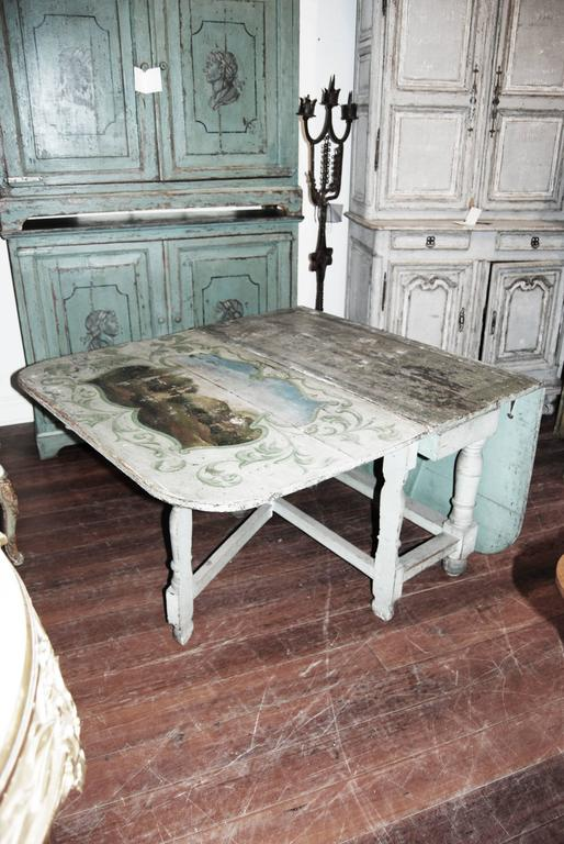 18th Century and Earlier 18th century Painted French Gateleg Table For Sale