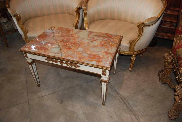 Beautifully carved and painted low table with original onyx top.
