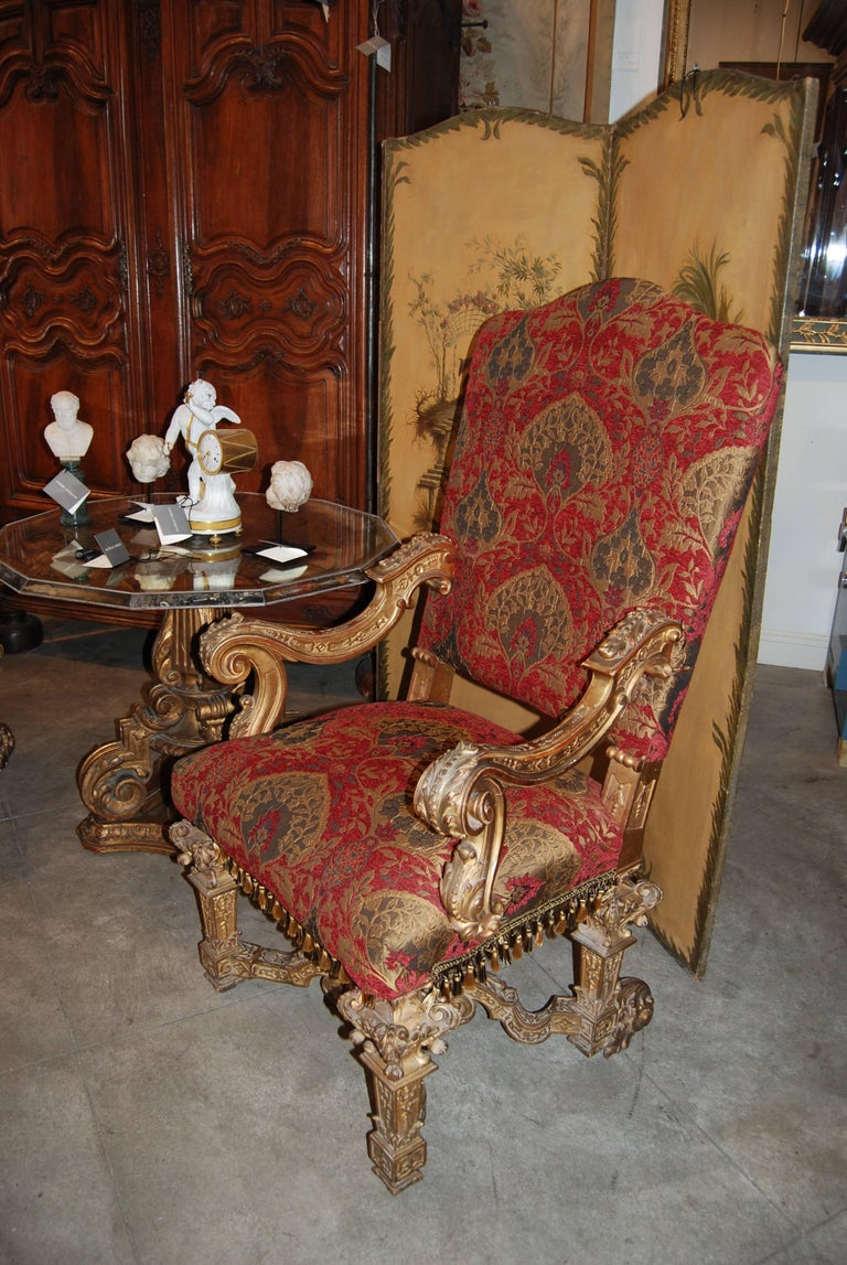 French Pair of Louis XIV Giltwood Armchairs For Sale