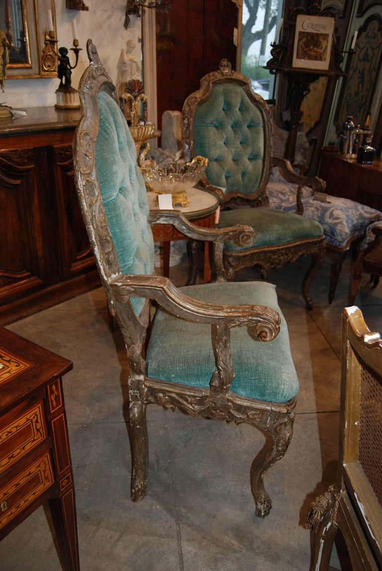 Pair of 19th Century Venetian Silver Gilded Armchairs 2