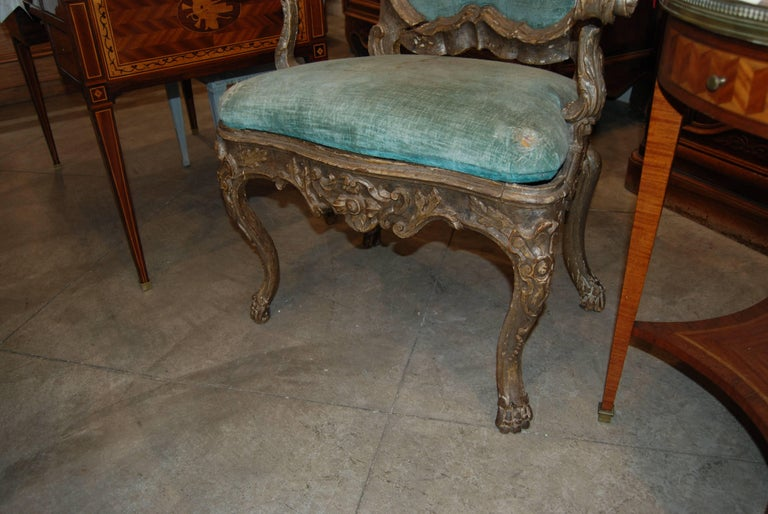 Pair of 19th Century Venetian Silver Gilded Armchairs 3