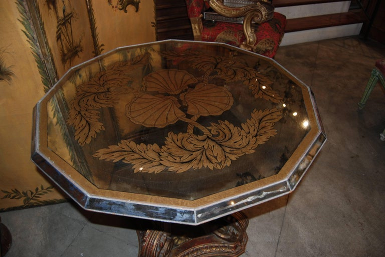 French Fabulous Art Deco Mirrored Églomisé Table For Sale