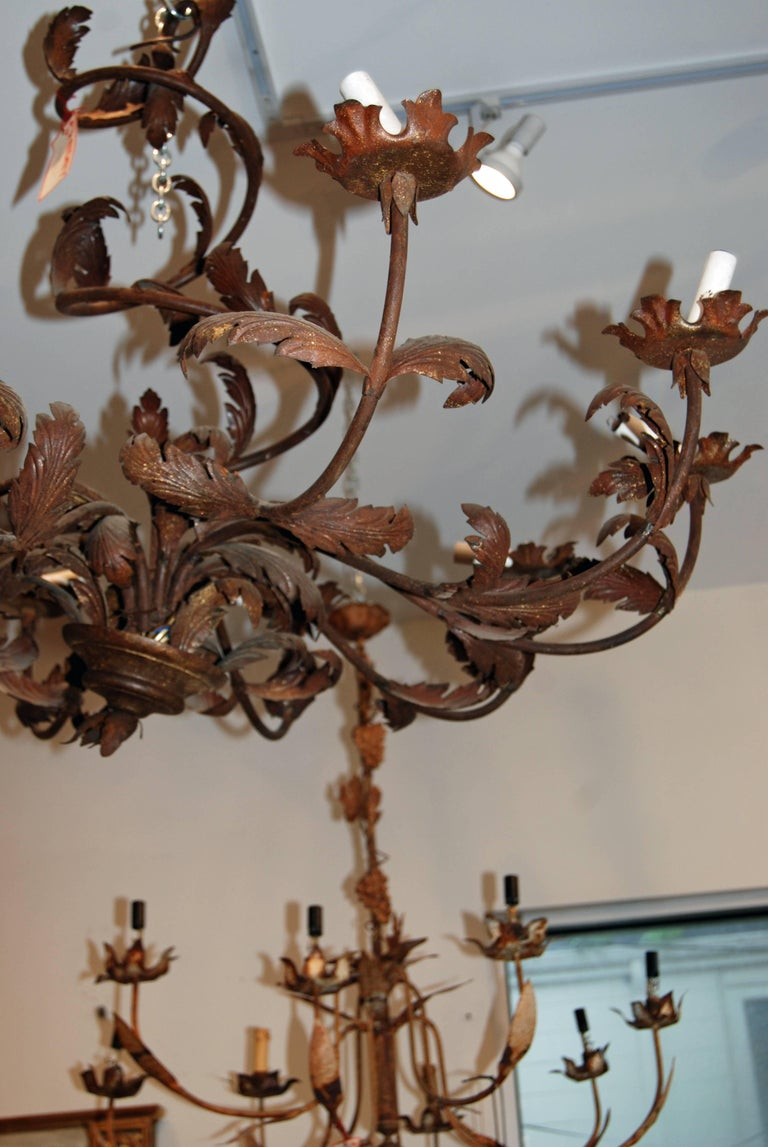 Pair of Belle Epoch Iron Chandeliers 3