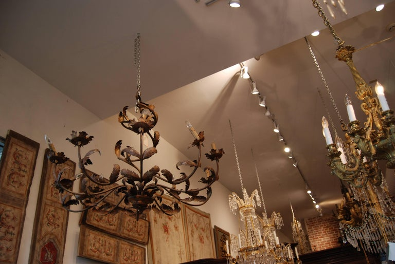 Pair of Belle Epoch Iron Chandeliers 4