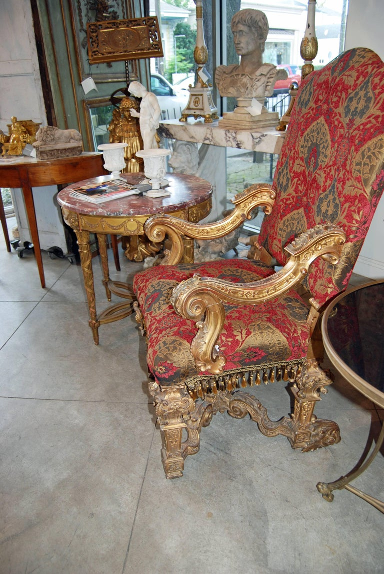 French Pair of Louis XIV Carved and Gilded Chairs For Sale