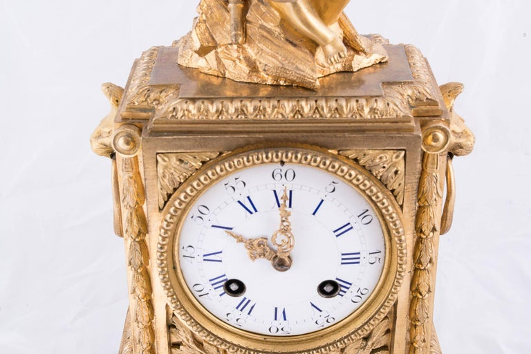 French Fine Napoleon III Bronze Dore Clock For Sale