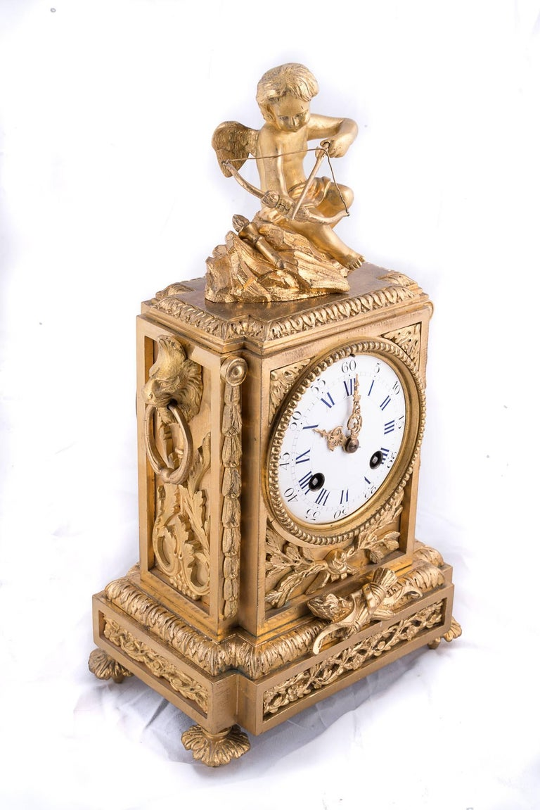Fine Napoleon III Bronze Dore Clock In Excellent Condition For Sale In New Orleans, LA