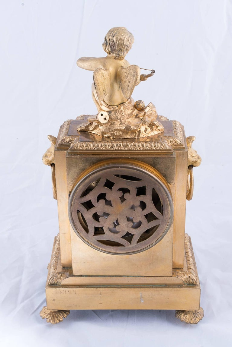 19th Century Fine Napoleon III Bronze Dore Clock For Sale