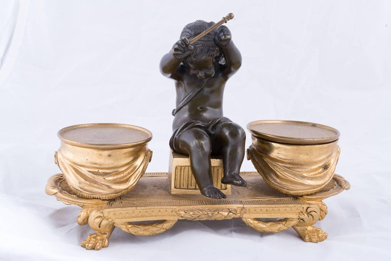 19th century bronze doré inkwell boy and dog 19th century bronze doré inkwell angel and drums.