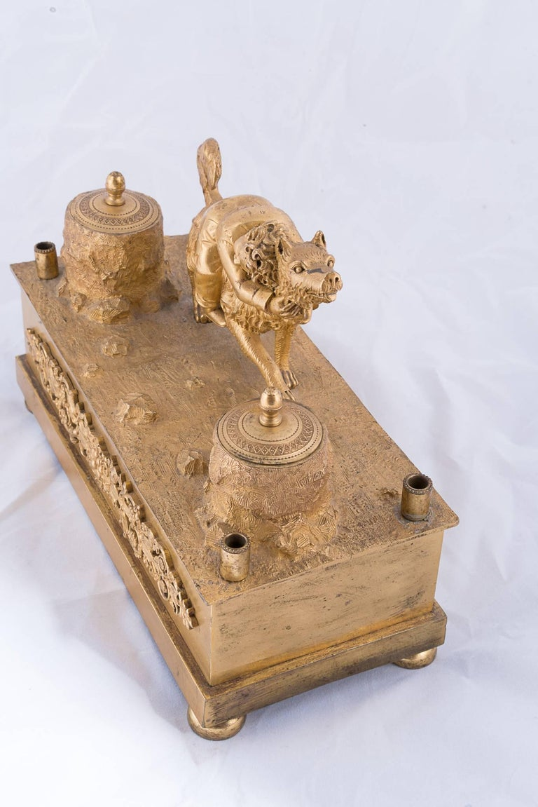 Other 19th Century Bronze Doré Ink Well For Sale