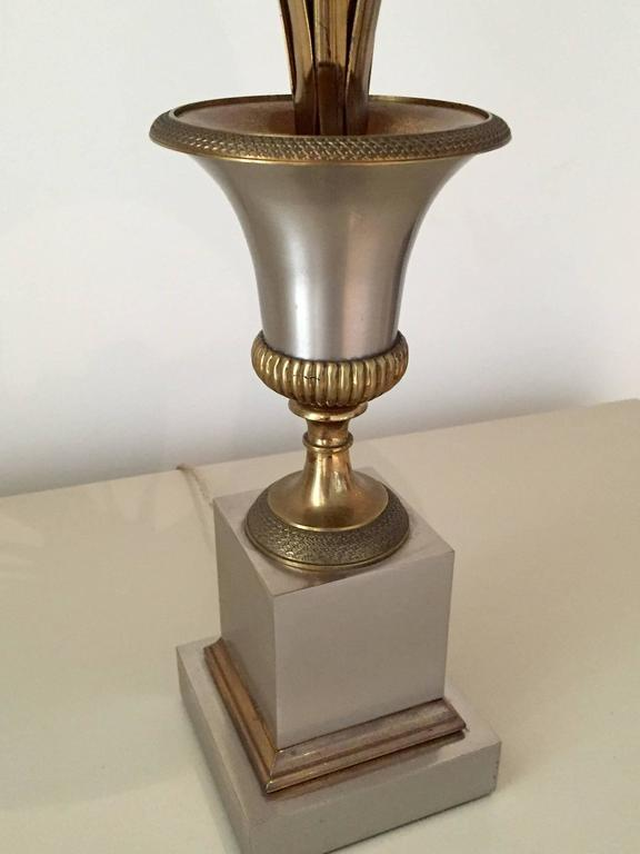 Table Lamp in Steel and Gilt Bronze by Maison Charles 2